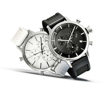 watches: modern watches  isolated on a white background Stock Photo