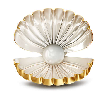 almeja: Big Shell con la perla en un fondo blanco