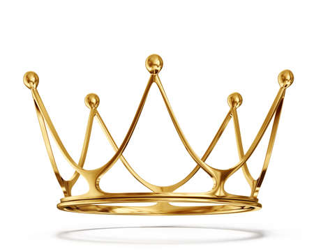 queen: gold crown isolated on a white background Stock Photo