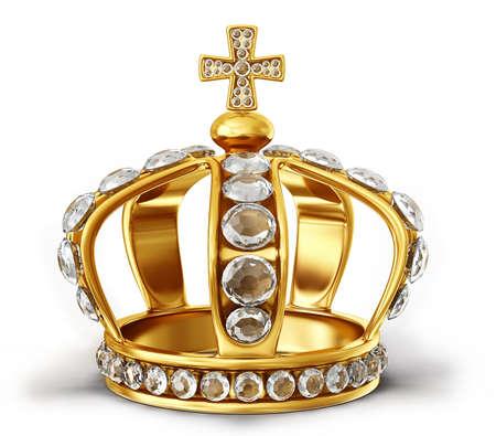 白い背景に分離された金の王冠