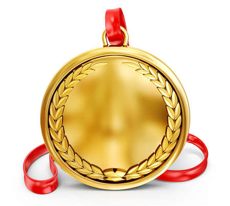 gold medal: gold medal isolated on a white background Stock Photo