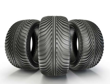 car tracks: sport tyres isolated on a white background