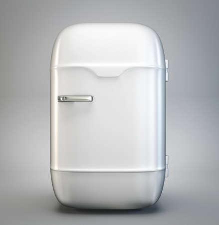 fridge: retro fridge isolated on a grey background