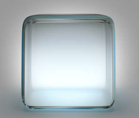glass cube isolated on a grey background photo