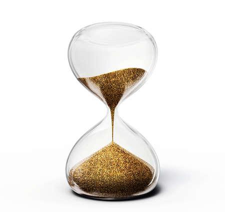 reloj de arena: antiguo reloj de arena aislado en un fondo blanco