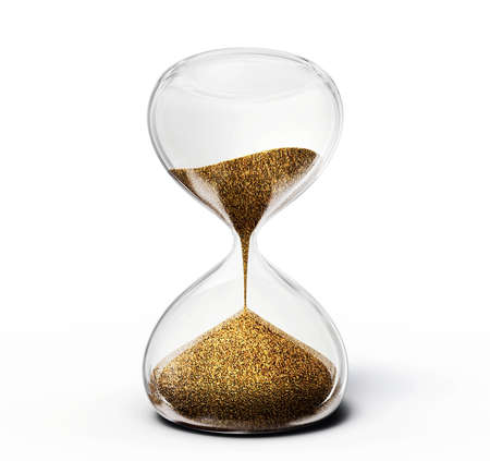 timer: old hourglass isolated on a  white  background