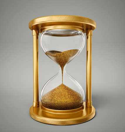 hour glass: gold hourglass isolated on a  grey background