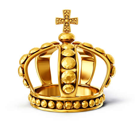 gold crown isolated on a white background Фото со стока