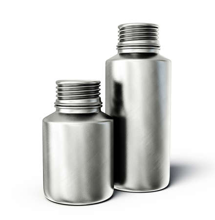steel bottles isolated on a white background photo