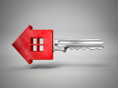 property: concept key isolated on a grey background Stock Photo