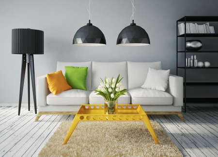 home furniture: modern interior room with a beautiful furniture