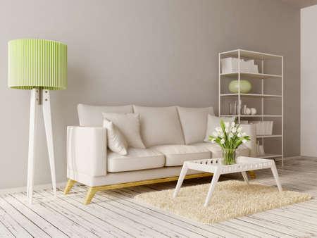 美しい家具とモダンなインテリア ルーム 写真素材