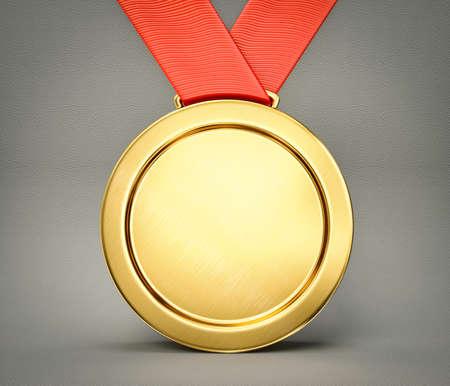 금메달은 회색 배경에 고립