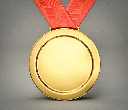 red and gold: gold medal isolated on a grey background Stock Photo