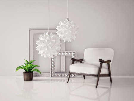 furniture home: modern interior room with a beautiful furniture