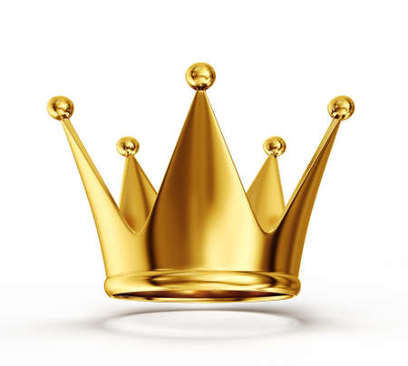 shiny icon: gold crown isolated on a white background Stock Photo