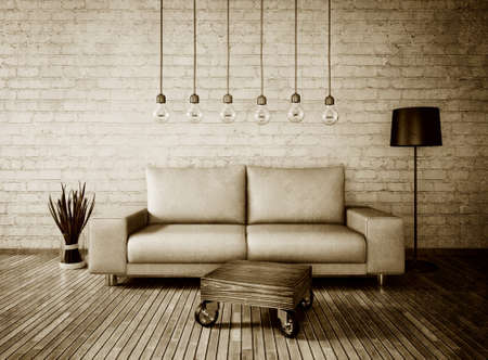 vintage 3d illustration interior room with a beautiful furniture Stock Photo