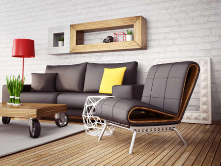 modern 3d illustration interior room with a beautiful furniture
