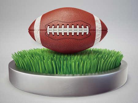college footbal: icono conceptual. bal�n de f�tbol aislado en un c�sped Foto de archivo