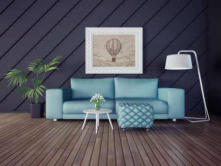 아름다운 가구와 3D 그림 간 방 스톡 콘텐츠