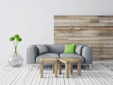 scandinavian: 3d render. modern interior with a beautiful furniture Stock Photo