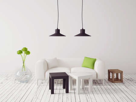 home furniture: 3d render. modern interior with a beautiful furniture Stock Photo