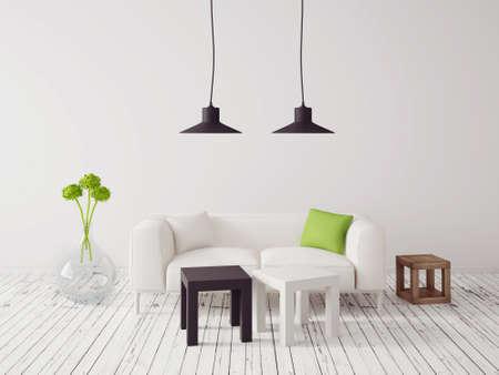 Rendering 3D. interni moderni con una bella mobili Archivio Fotografico - 34873251
