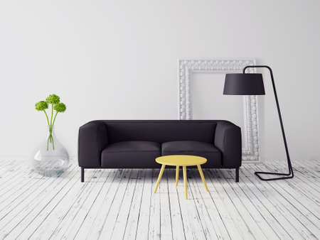 3d render. modern interior with a beautiful furniture photo