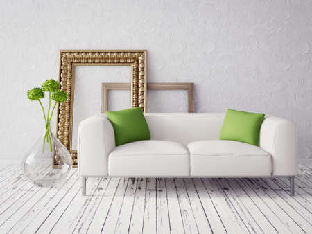 furniture home: 3d render. modern interior with a beautiful furniture Stock Photo