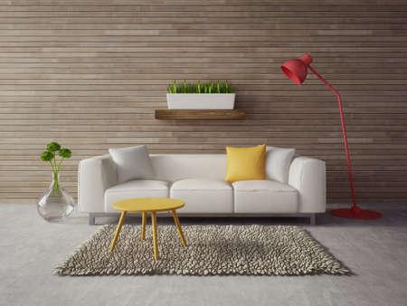 3 d のレンダリング。美しい家具を備えたモダンなインテリア