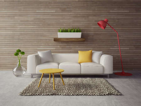 3d render. modern interior with a beautiful furniture Foto de archivo