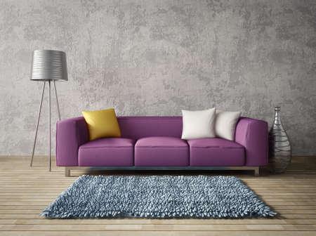 Rendering 3D. moderna sala interna con mobili stupendi. Archivio Fotografico - 34876081