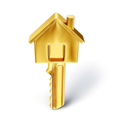home security: golden key isolated on a white. 3d illustration