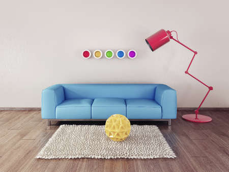furniture design: 3d render. modern interior room with a beautyful furniture.