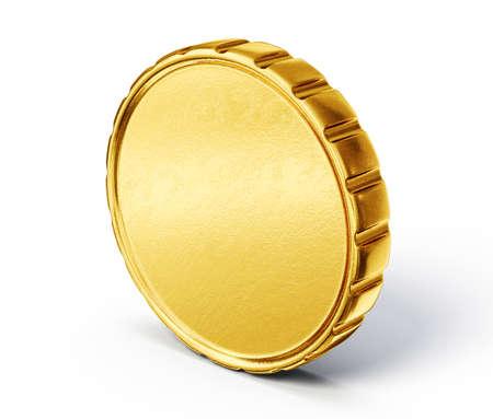 Gold coin: đồng tiền vàng bị cô lập trên một màu trắng. 3d minh họa Kho ảnh