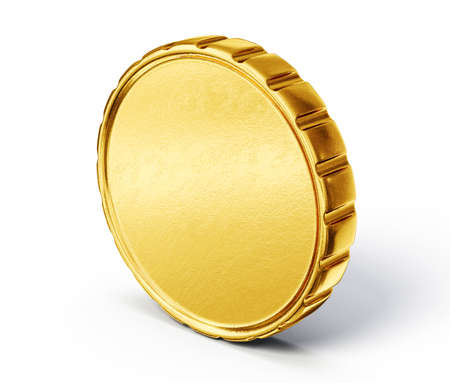 gold circle: gold coin isolated on a white. 3d illustration