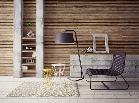 muebles de madera: 3d. espacio interior moderno con muebles beautyful.