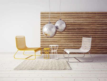 3 d のレンダリング。モダンなインテリアの客室は美しい家具。