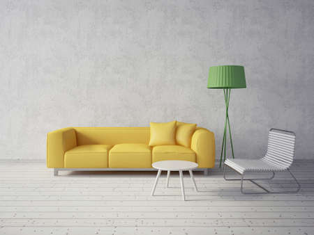 home decorations: 3d render. modern interior room with a beautyful furniture.