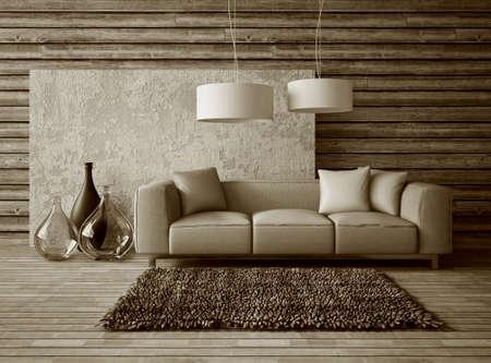 3 d のレンダリング。美しい家具モダンな室内空間。 写真素材