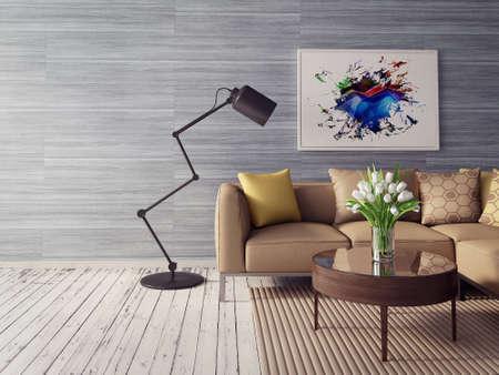 Rendering 3D. moderna sala interna con mobili stupendi. Archivio Fotografico - 36059338