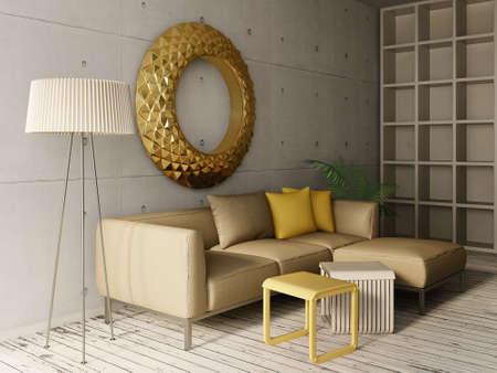 beautyful: 3d render. modern interior room with a beautyful furniture.