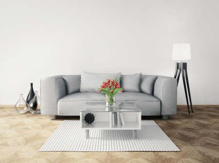 Rendering 3D. moderna sala interna con mobili stupendi. Archivio Fotografico - 37883048