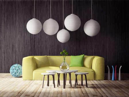 Rendering 3D. moderna sala interna con mobili stupendi. Archivio Fotografico - 37883050