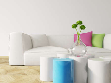 lifestyle home: 3d render. modern interior room with a beautyful furniture.