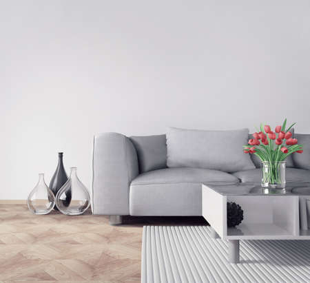 living room furniture: 3d render. modern interior room with a beautyful furniture.
