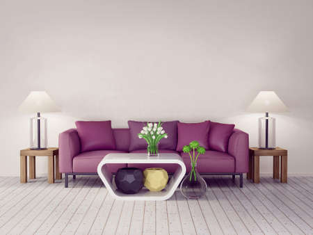 modern flowers: 3d render. modern interior room with a beautyful furniture.