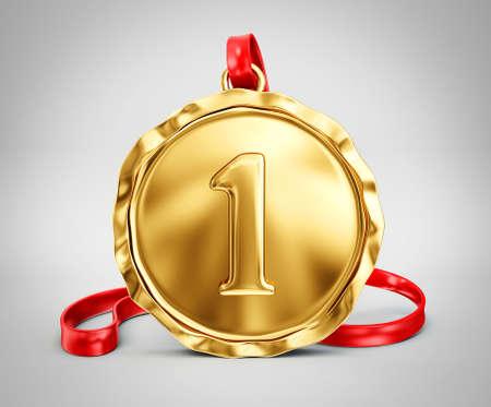 trofee medaille geïsoleerd op een grijze achtergrond Stockfoto