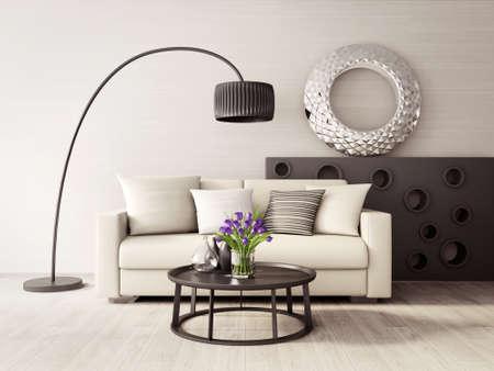 Rendering 3D. moderna sala interna con mobili stupendi. Archivio Fotografico - 37883720