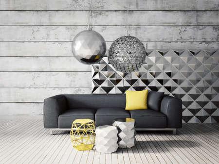 3D 렌더링합니다. 으로 beautyful 가구와 현대적인 간 방. 스톡 콘텐츠